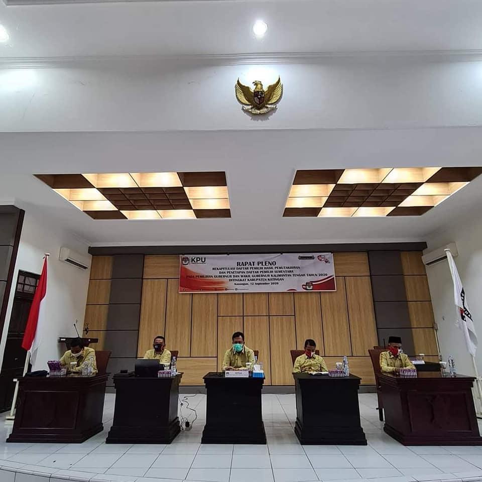 Rapat Pleno Rekapitulasi DPHP dan Penetapan DPS Pilgub Kalteng Tahun 2020 (12-09-2020)